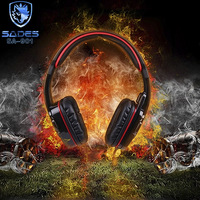 SADES SA-901 Gaming Headsets 7.1 Simulated Sound Channels With Micrphone Controller USB Port Cool Glare Headphones For Laptop