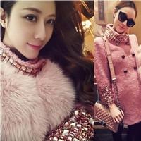 S-XL(Purple+Pink)Free Shipping 2014 Winter Luxury heavy drill Diamond Three Quarter Sleeve long slim wool tweed coat 141020#1