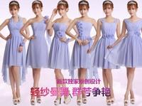 Elegent Fashion Beautiful chiffon Short formal bridesmaid dress Party Ball Prom toast Wedding bride dresses five types to choose