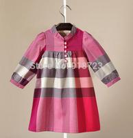 2014 New 5 Colors Autumn Girl's Dress Plaid Princess Dress 3-8T Fashion Classic  Children Clothing Cotton England Style European