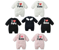 2014 baby rompers baby boy clothes winter warm baby clothing set black/white color leisure suit baby onesie