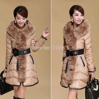 Hot Sales New 2014 Winter Coat Fashion duck down jacket women Leisure Pure Color Pluz Size Winter Jacket XXXL coat collar fur