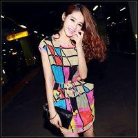 Free Shipping!S-XL, Women Hot Korean Style Summer Causal Dress Ruffles Short Sleeve Chiffon Polka Dots Mini Dress #RT67 Tonsee
