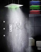 Atomizing And Rainfall 20 Inch LED Temperature Sensitive Rainfall Shower Head Thermostatic Bathroom Shower Faucet Set
