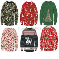 EAST KNITTING 2014 Autumn Winter Women Sexy Red Father Christmas Sweatshirt 3d Printed Hoodies Casual Shirt Free Shipping