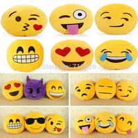 Emoji Smiley Emoticon Yellow Round Cushion Pillow Stuffed Plush Toy Doll Sofa Home Decoration Xmas Christmas Gifts