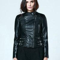 New fashion Black Jacket Bomber Motorcycle Faux Leather jackets Women Pu Coat jaqueta couro Hot Sale