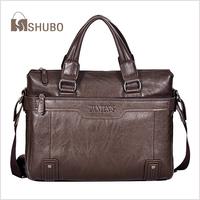 SHUBO Men Briefcases 2014 Hot Genuine Leather Bags Men Shoulder Messenger Laptop Bag Khaki Business Bags Bolsas SH100