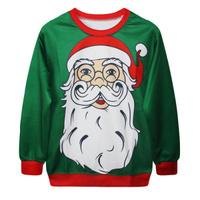 EAST KNITTING G96 Fashion 2014 Women Hoody Harajuku Father Christmas Print Long Sleeve Sweatshirt Women Casual Pullover