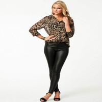 Spring Summer Fashion Women Casual Shirt Loose Fit Long Sleeve Leopard Chiffon Blouse