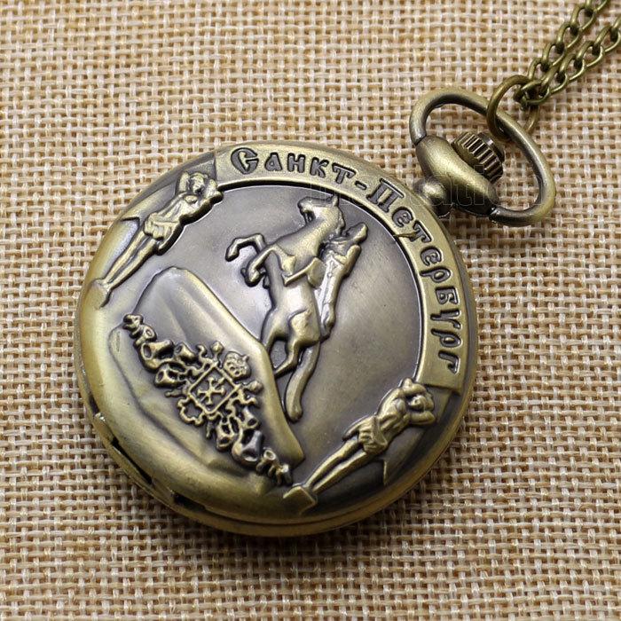 Retro Bronze Knight Ride Horse Pendant Chain Quartz Pocket Watch Men P207(China (Mainland))