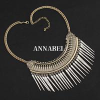 New fashion bohemian style vintage gold chain alloy statement necklace silver rivet pendant necklace for women bijoux