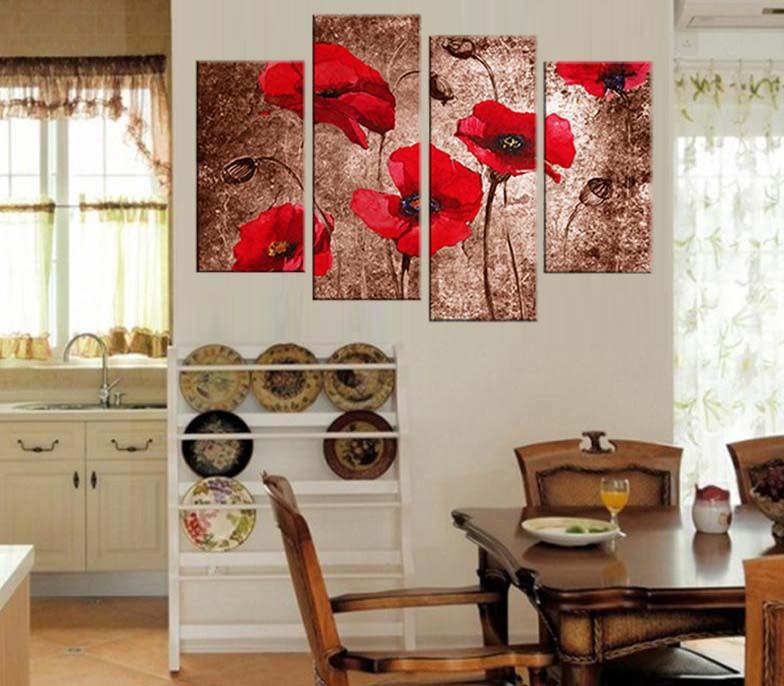 4 imagem combinação spray pintura a óleo emoldurado pintura Red Poppies marrom decoração para sala de estar presentes grátis frete(China (Mainland))