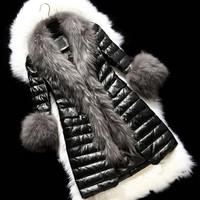 Promotions 2014 European Women's Fashion Faux Fur Coat Ladies Long Jacket Winter Women Faux Fur Outwear Plus Size SV03 CB031164