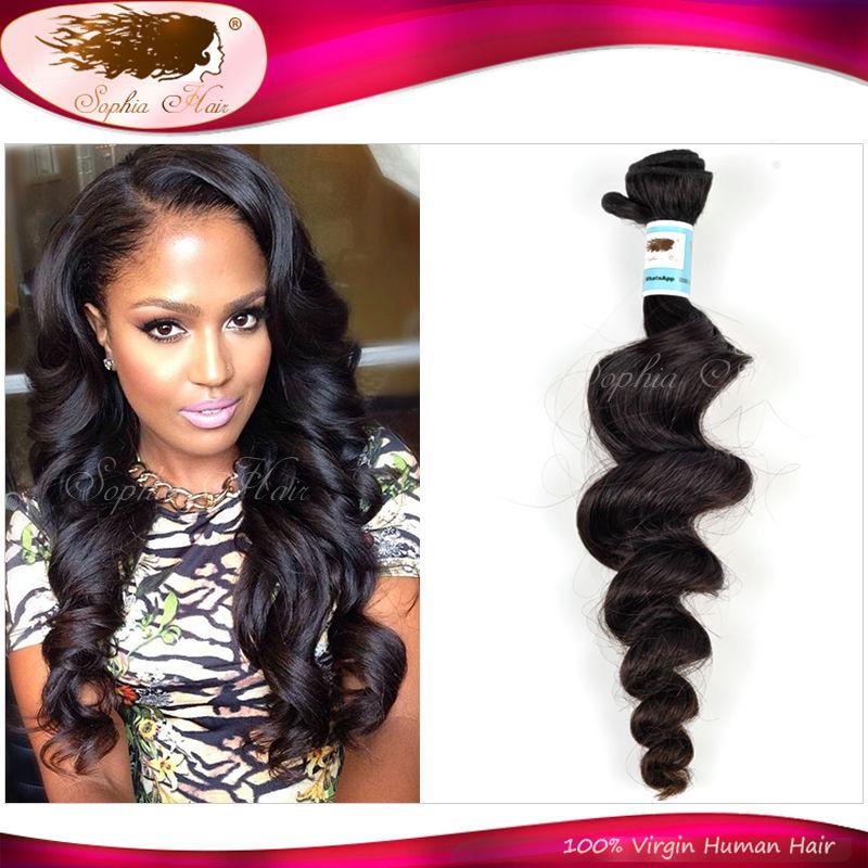 6A Peruvian Virgin Hair Loose Wave 100% Unprocessed Peruvian Loose Wave 1 Piece Sophia Hair Products Peruvian Human Hair On Sale(China (Mainland))