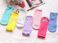 Fashion Summer hot sale 1 lot =7 pairs =14 pcs women cute cotton socks slippers boat socks Weeks socks  f280