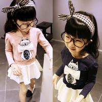 Toddlers Kids Girls Cartoon Cat Print Dress Bow Long Sleeve One Piece Dress