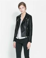 2014 High Street Locomotive Suit Lady New Autumn Turn-down Collar PU Leather Jacket Zipper Pocket Women Fashion Slim Coat Stock