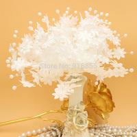 Sale! 102pcs/lot 25mm Head White Color Mulberry Fabric Flower Bouquet/Wire Stem/ Wedding Scrapbooking Artificial pearl Flower
