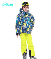 2014New FREE SHIPPING phibee kids winter clothing set skiing jacket+pant snow suit -20-30 DEGREE boys ski suit size128-176