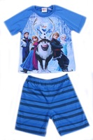 Free shipping 2014 new design children clothing frozen boys short sleeve t shirt top + shorts pants 2 pieces summer suits sets