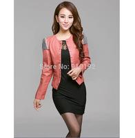 2014 Hitz small leather jacket women short paragraph Slim PU motorcycle jacket Korean version