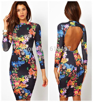 Stylish Europe US Women Sexy Backless Dresses Long Sleeve O-neck Floral Bottoming Tunic Midi Dress Bodycon Slim Vestidos 655969