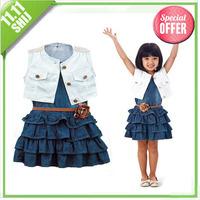Retail 2014 Hot! summer girl's fashion apparel set 3 ~ 7age child denim clothings princess casual dress set children's apparel