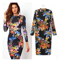 New Women Sexy Backless Dresses Long Sleeve O-neck Floral Bottoming Slim Autumn Dress Tunic Midi Party Bodycon Vestidos ay655969