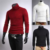 Fashion Mens Sweaters Shirts Raglan Sleeve Plus Size Turtleneck Thermal Cotton Turtle Polo Neck Stretch Skivvy  EJ658023