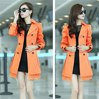 2014 New Fashion Women Long Coats Cotton Trench Slim Double Breasted Lace Jackets Overcoat Plus Size Colorful EJ656978