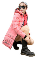 Free Shipping Korean Slim Warm winter coat padded Coat,Girls long down filled jacket Candy Color Maxi size L XL XXL XXXL