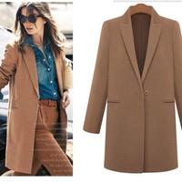 Sheinside Autumn Winter Women Casual Tops Outerwear 2014 New Arrival Fashion Mint Lapel Double Pocket Longline Wool Coat