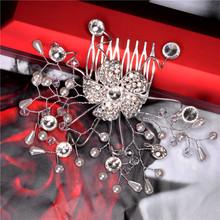Free Shipping White Pearl 18K Silver Plated Austrian Crystal Wedding Bridal Hair Accessories Hair Flower head