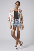 New Women Autumn Clothes Cardigan Open Stitch Fringed Kimono Red Floral Print Kimono Tassel Jacket Tops EJ657239