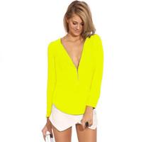 Chic Chiffon Shirts Zipper Women Blouses High Quality Deep V-neck Loose Casual Long Sleeved Tee Tops EJ657153