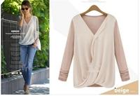 2014 Women's Shirts Loose Hollow V-neck Stitching Knit Chiffon Shirts Casual Long Sleeve Blouses Tops EJ657141