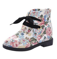 Hot Sale Autumn 2cm Inner Crease Women Snow Boots,Print Floral Lace-up Martin Fashion Boots,High Quality PU Platform Shoes 491