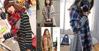 za 2014 double faced plaid soft winter 180*55cm big shawls 4 kinds color scarf double layer moben plaid cape  JZ101506