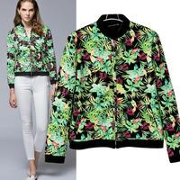 OME001 Green floral 3d print cardigans varsity short bomber autumn sport coat jackets women blazer feminino outerwear chaquetas