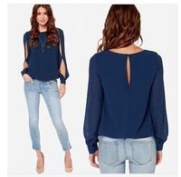 1031 Hot Sale New 2014 Spring Fashion Long Sleeve Tops Women Hollow Out Chiffon Blouse Shirt Plus Size XXXL Blusas Femininas