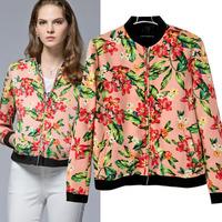 OME002 Red leaf 3d print cardigans varsity short bomber winter coat jackets baseball women blazer feminino outerwear chaquetas