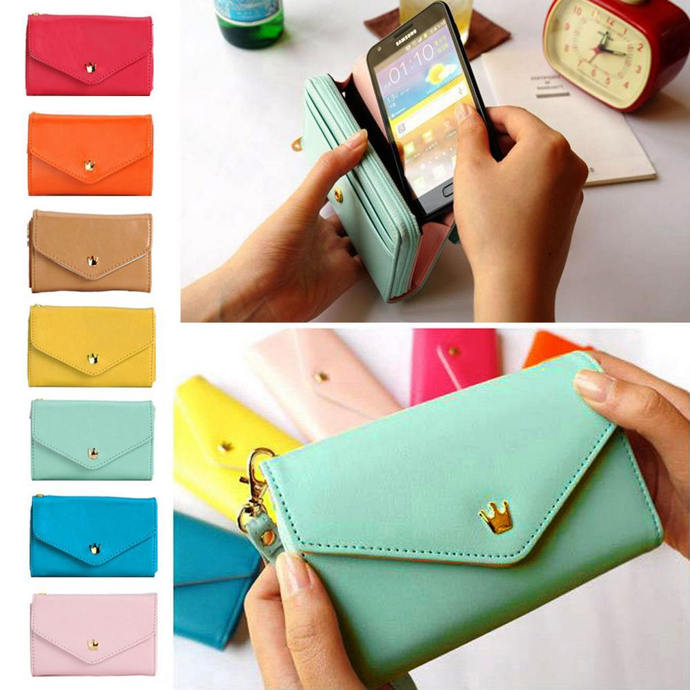 Wholesale/Dropship New Multifunctinal Envelope Purse Clutch Bag Coin Card Wrist Wallet Case for Iphone 4S 5 Galaxy S3 YL*B704#M1(China (Mainland))