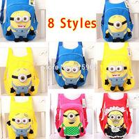 Cute 3D eyes Despicable Me Minion Plush Parent-child Backpack Child Kid Boy and Girl Cartoon Children's School Bag 29 * 24CM