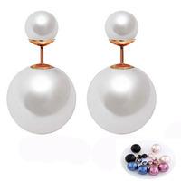 New Fashion Jewelry Hot Selling Earring 2014 Double Sided Statement Earrings Big Pearl Earring For Women
