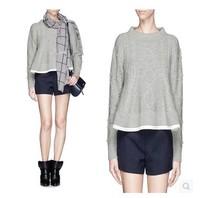 Fall 2014 Runway Brand Design Diamond Lattice Wool Knitting Sweater  for Women 141023LJ01