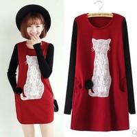 2014 Fashion Character Cat  inside Thick Fleece warm Winter Autumn dress,  Knitting Cotton long sleeve women casual dresses