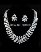 2015 Luxury New Arrival Wedding Jewelry Set Platinum Plt Swiss Cubic Zircon Necklace & Earring Sets