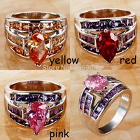 Wholesale NEW Jewelry Fashion Women Pear Cut Garnet & Pink Topaz & Amethyst 925 Silver Ring Size 9 10 Free Shipping