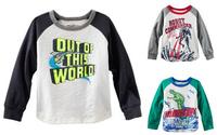 2014 Hot Retail Kids Cartoon Long Sleeves Children Boys Girls t shirt /Child Letters Tops Tee/Children's casual dress freeship n